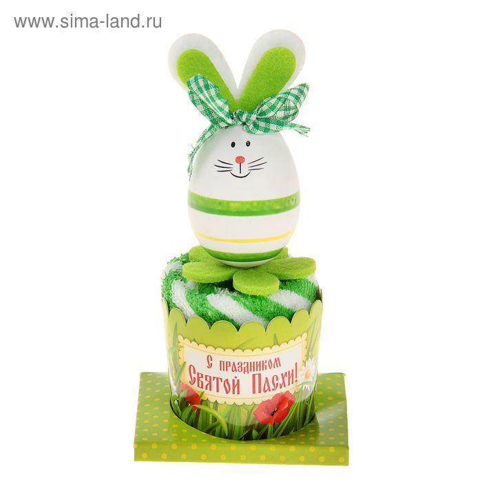 """Полотенце сувенирное Collorista """"Пасхальный кролик"""" зеленый 25х25 см хлопок"""