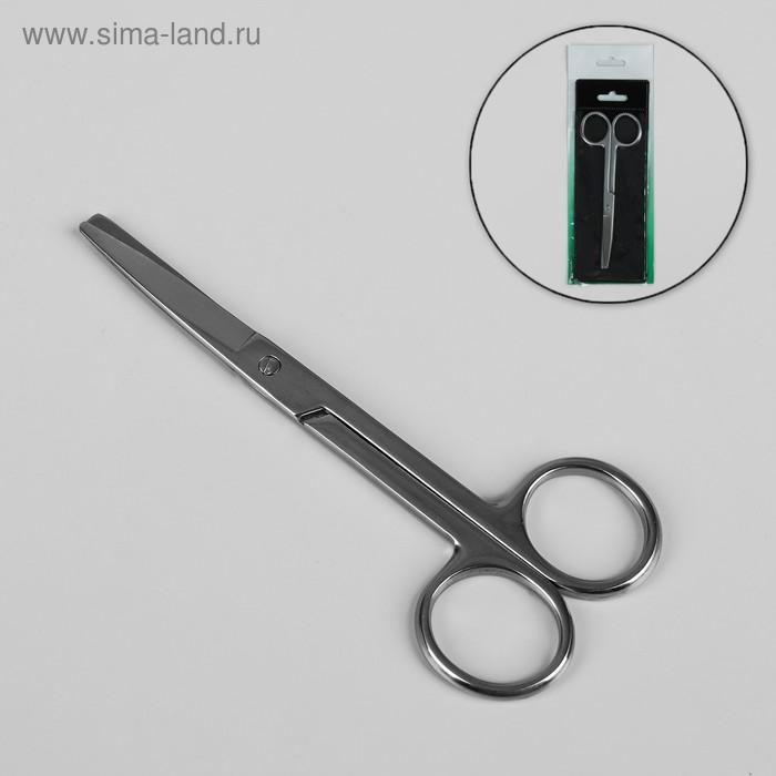 Ножницы маникюрные, широкие, прямые, 13см, чехол, цвет серебристый