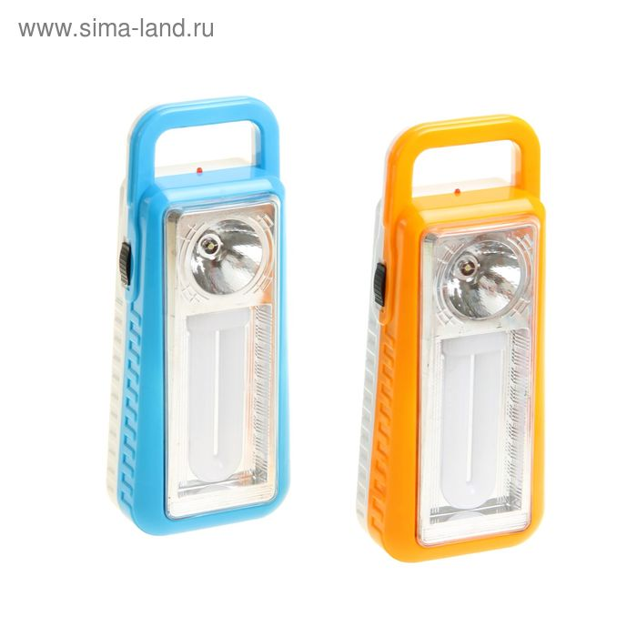 """Фонарь аккумуляторный с петлёй """"Оптимист"""", 2 диода, 220V, цвета МИКС"""